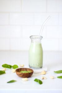 Matcha Mint Cashew Milk with Chia