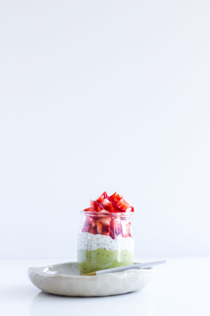 Matcha and Strawberry Chia Cup