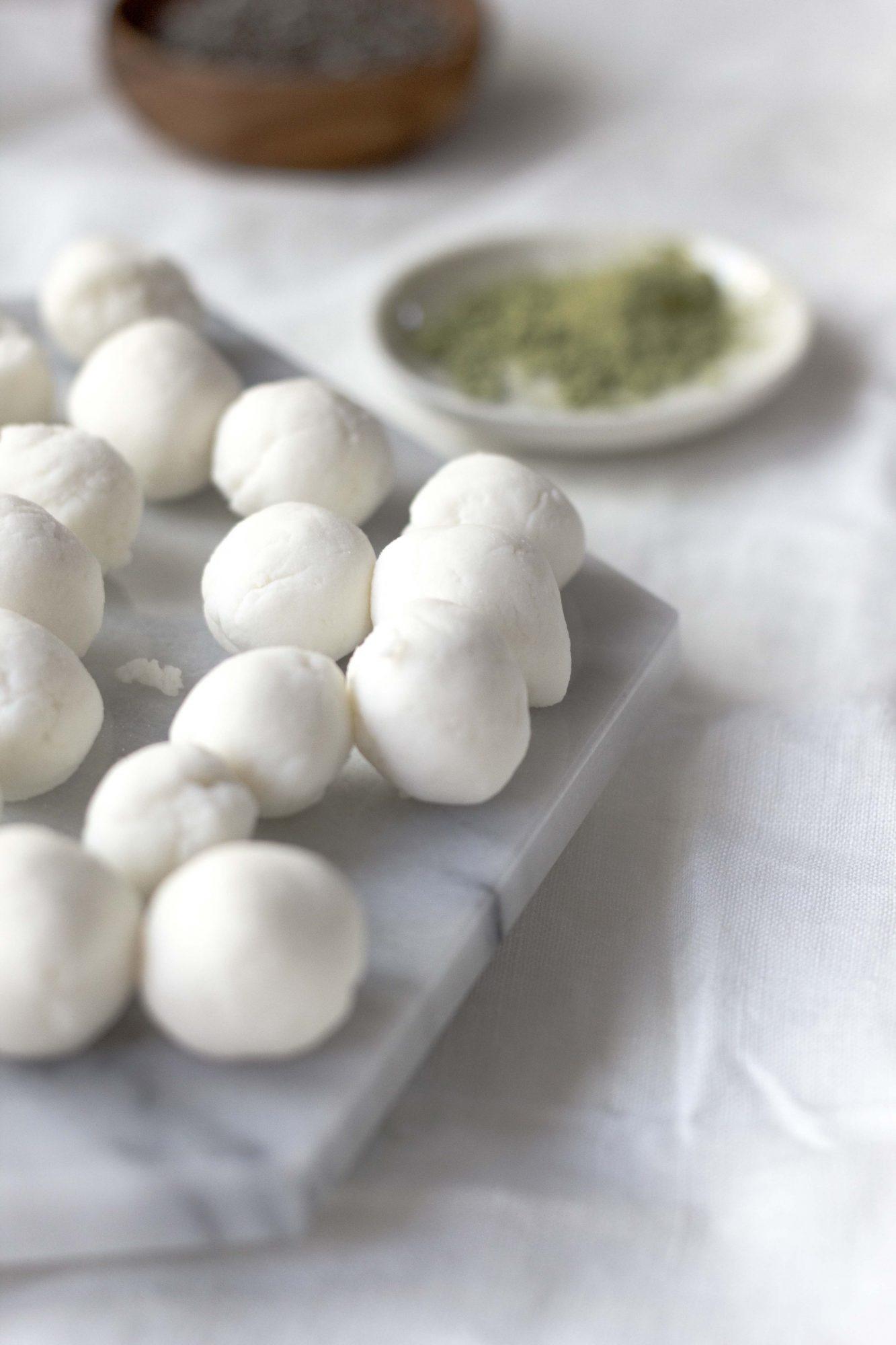 Warm Matcha Chia Pudding with Mochi Balls