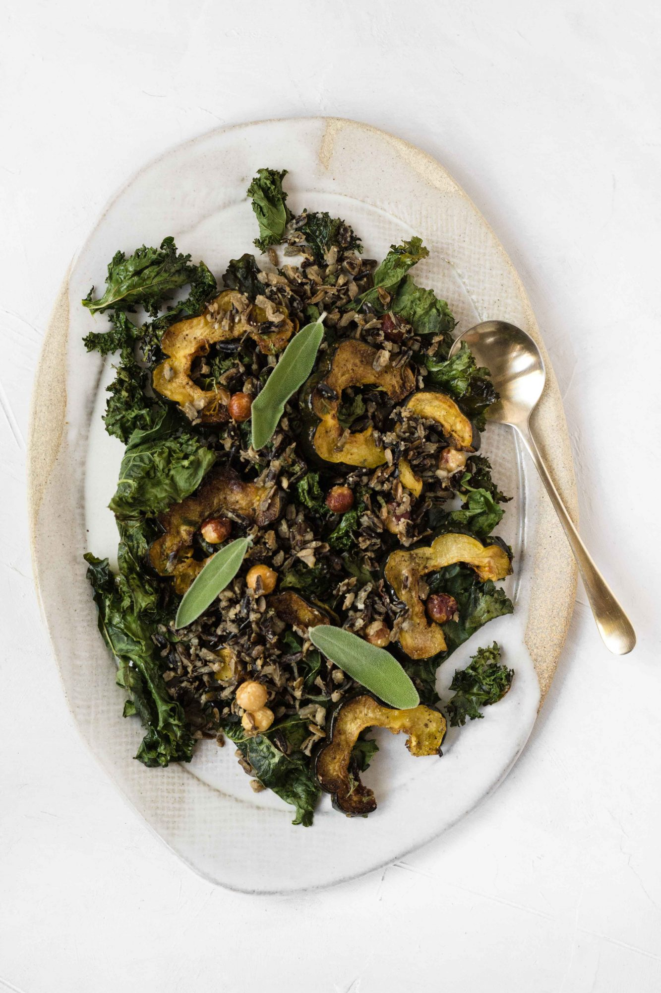 Crispy Kale Wild Rice Squash Salad