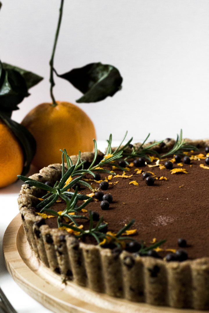 No Bake Vegan Orange Chocolate Fudge Tart