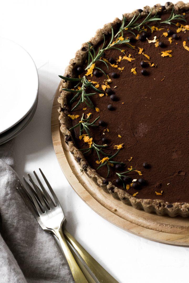 No Bake Vegan Orange Chocolate Fudge Tart