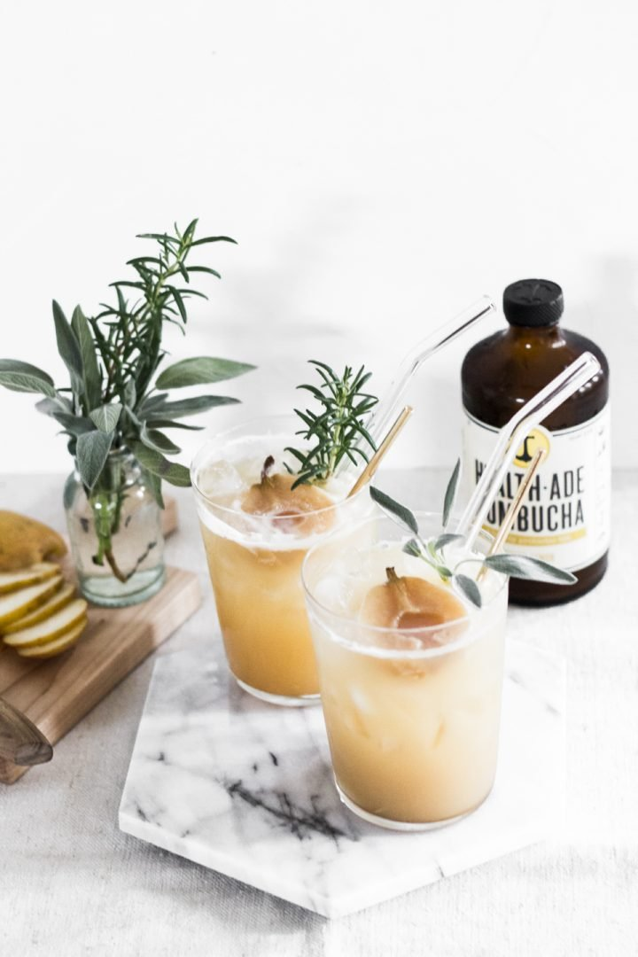 Poached Pear Ginger Kombucha Mocktail