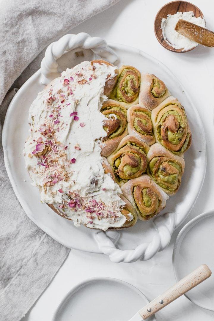Pistachio Rose Cardamom Rolls in 45 Minutes