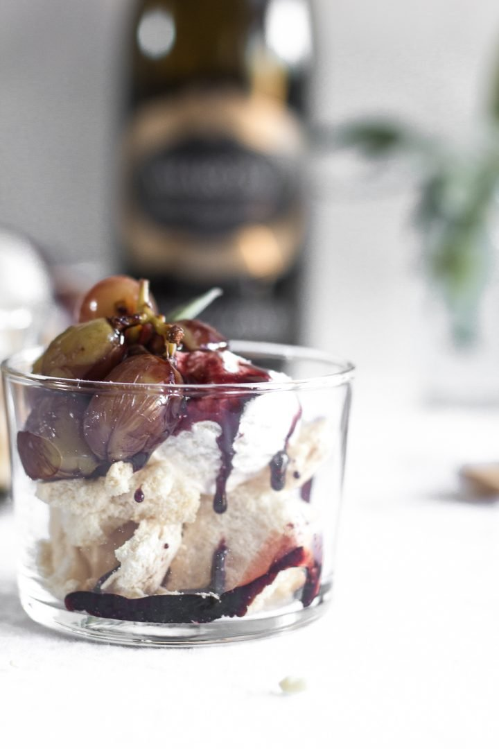 Eaton Mess with Wine Poached Grapes and Red Wine Caramel Sauce