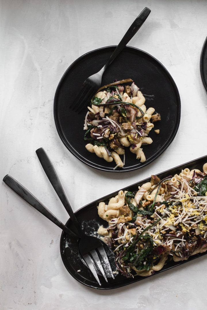 Banza Cavatappi with Vegan Sausage and Radicchio