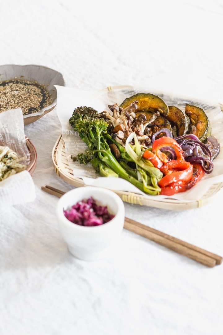Roasted Veggies with Yuba Miso Noodles