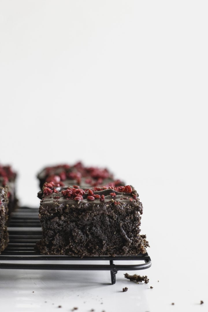 Beet Brownies with Raspberry Chocolate Topping