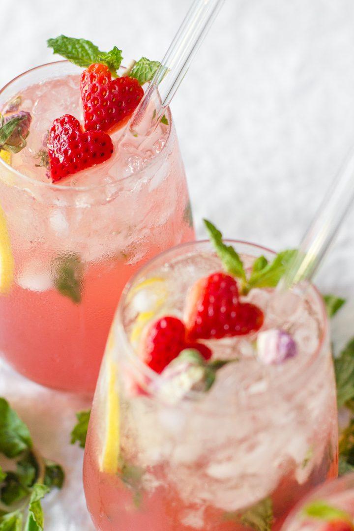 Rosewater Strawberry Lemonade Spritzer