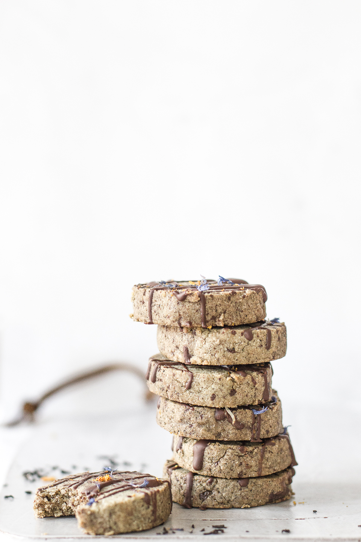 Earl Grey Creme Chocolate Chunk Shortbread Cookies