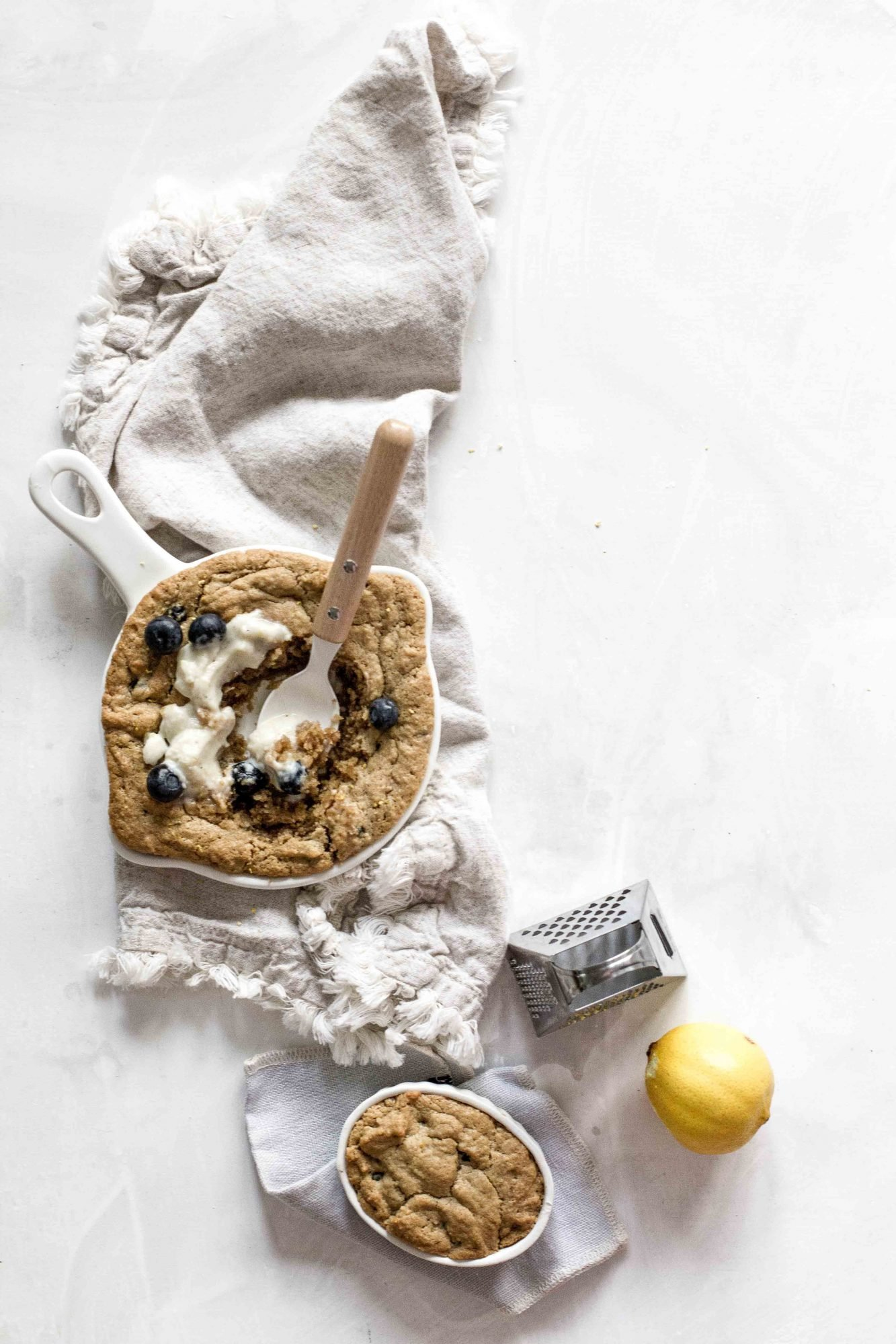 Paleo Lemon Blueberry Mini Skillet Cookie