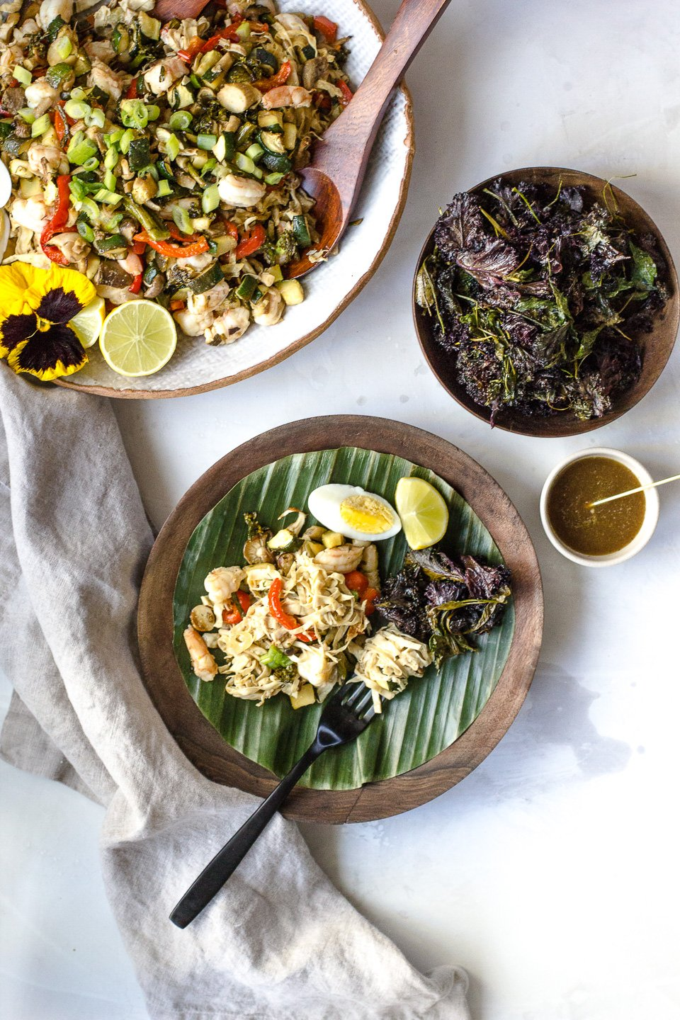 Yuba Noodles Pancit with Adobo Kale Chips