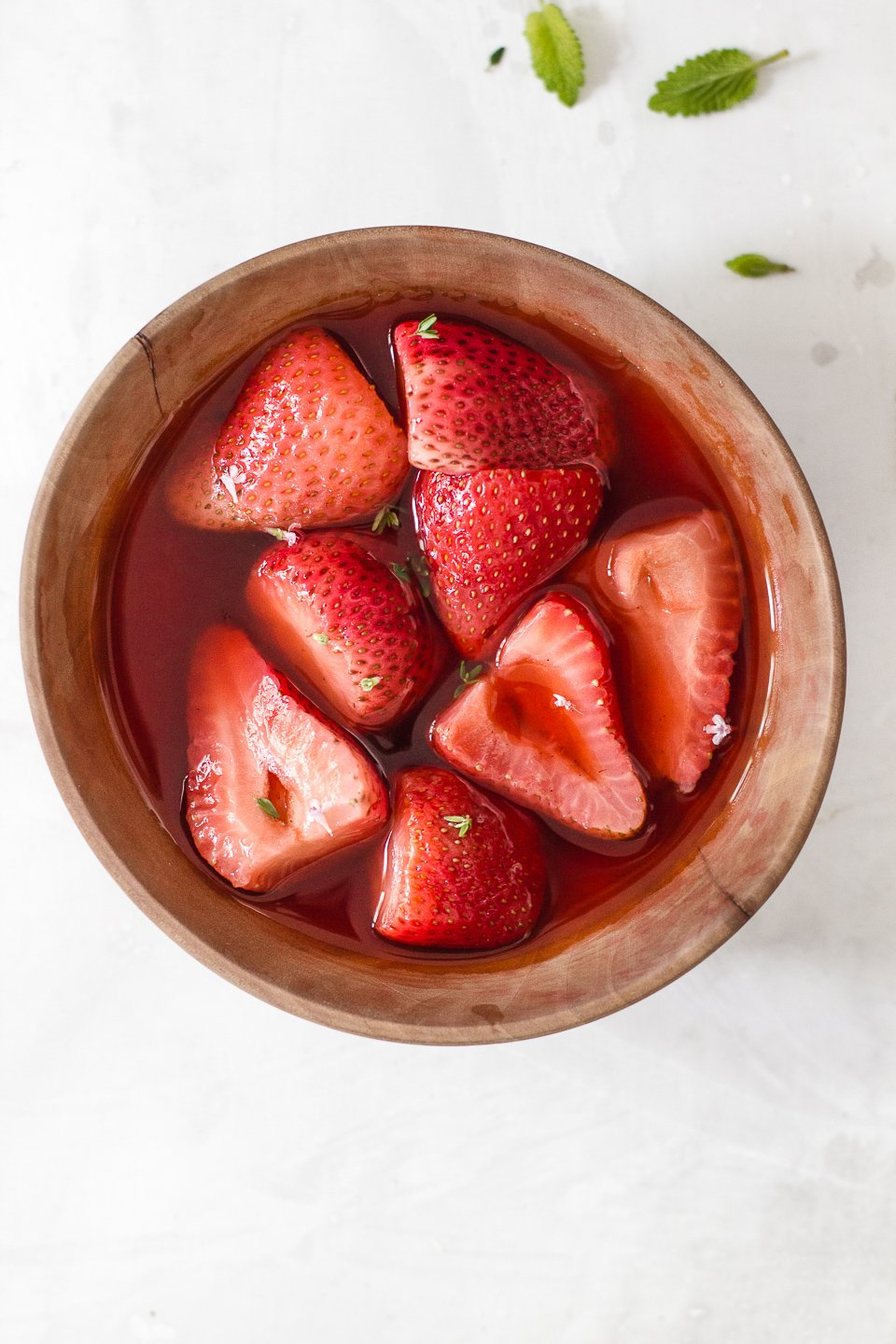 Apple Cider Rose Poached Strawberries