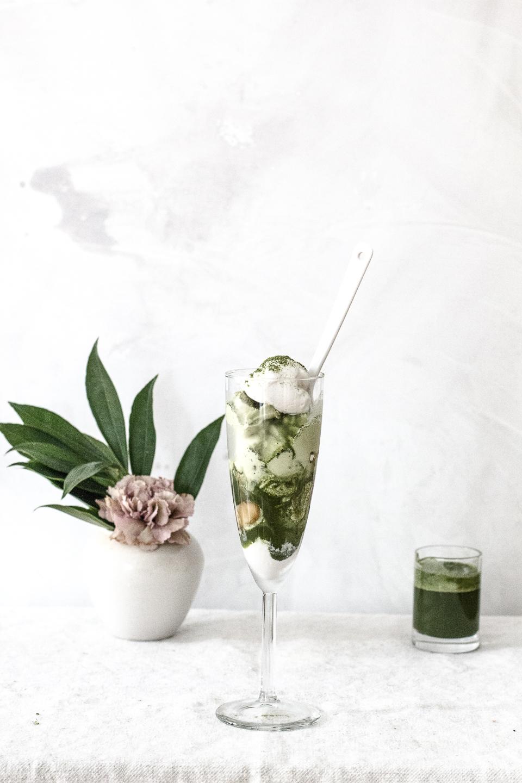 Japanese Style Parfait with Matcha Pandan Syrup