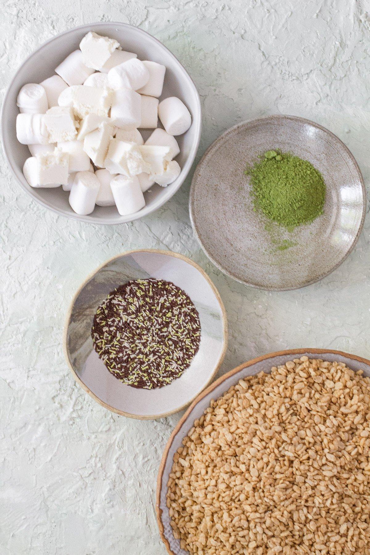 Matcha Funfetti Rice Krispy Treats