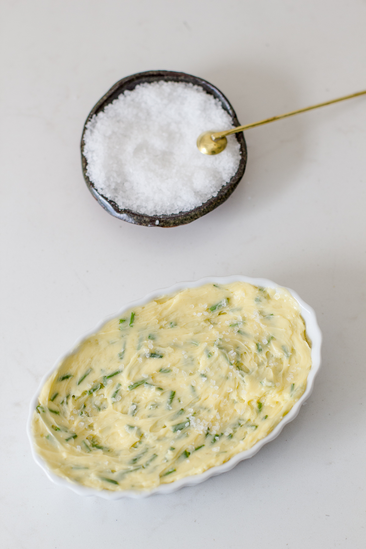 Garlic Chive Butter with Mortons Salt