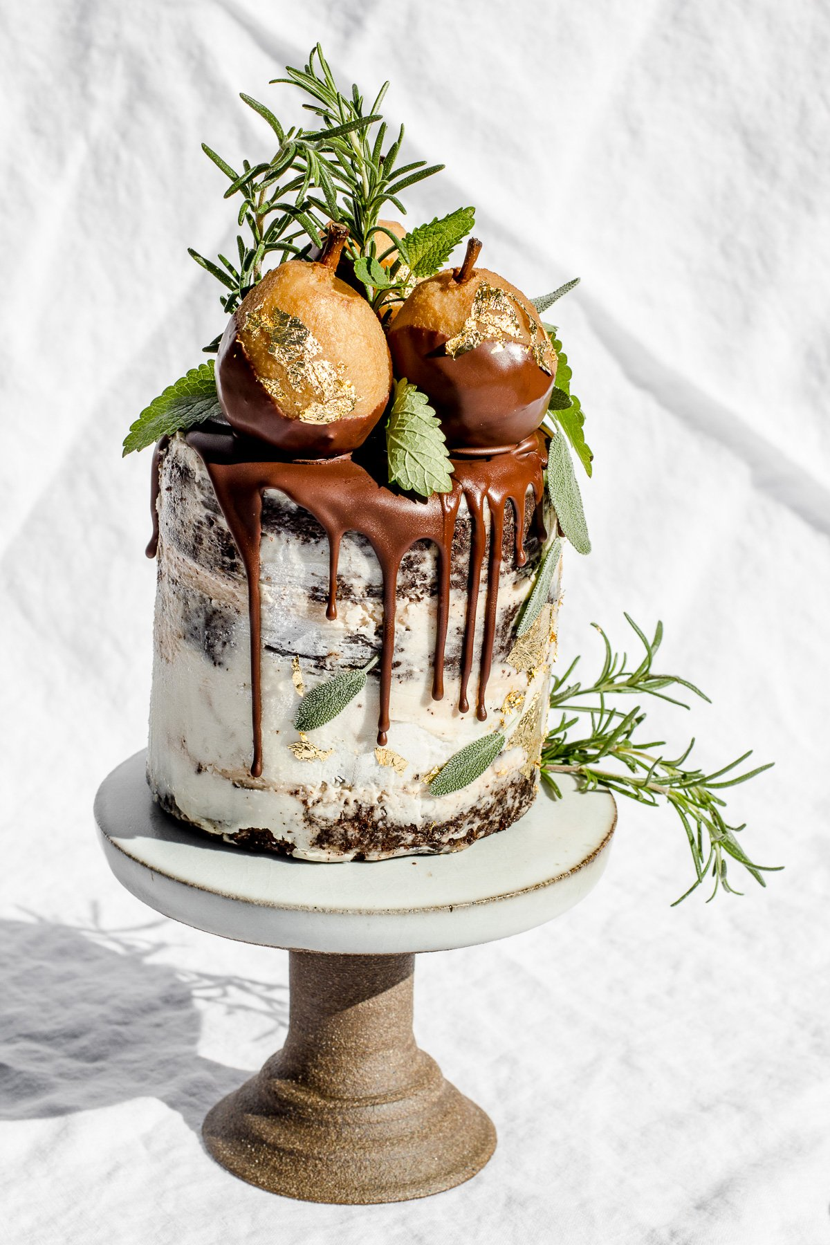 chocolate chestnut cake with golden poached pears