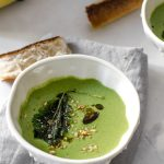 Creamy Vegan Spinach Miso Soup with Crispy Kale Chips