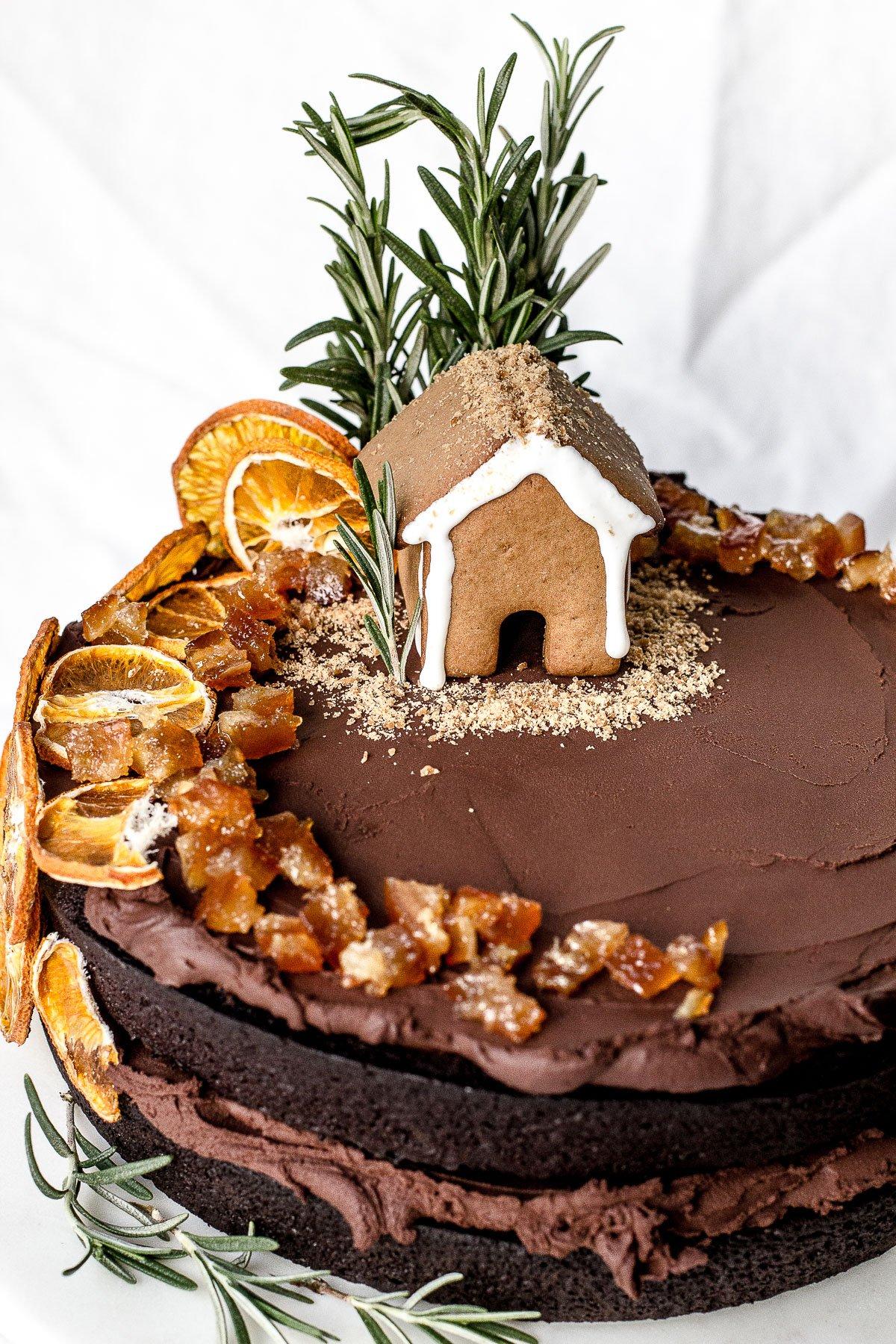 Mandarin Rosemary Chocolate Fudge Cake