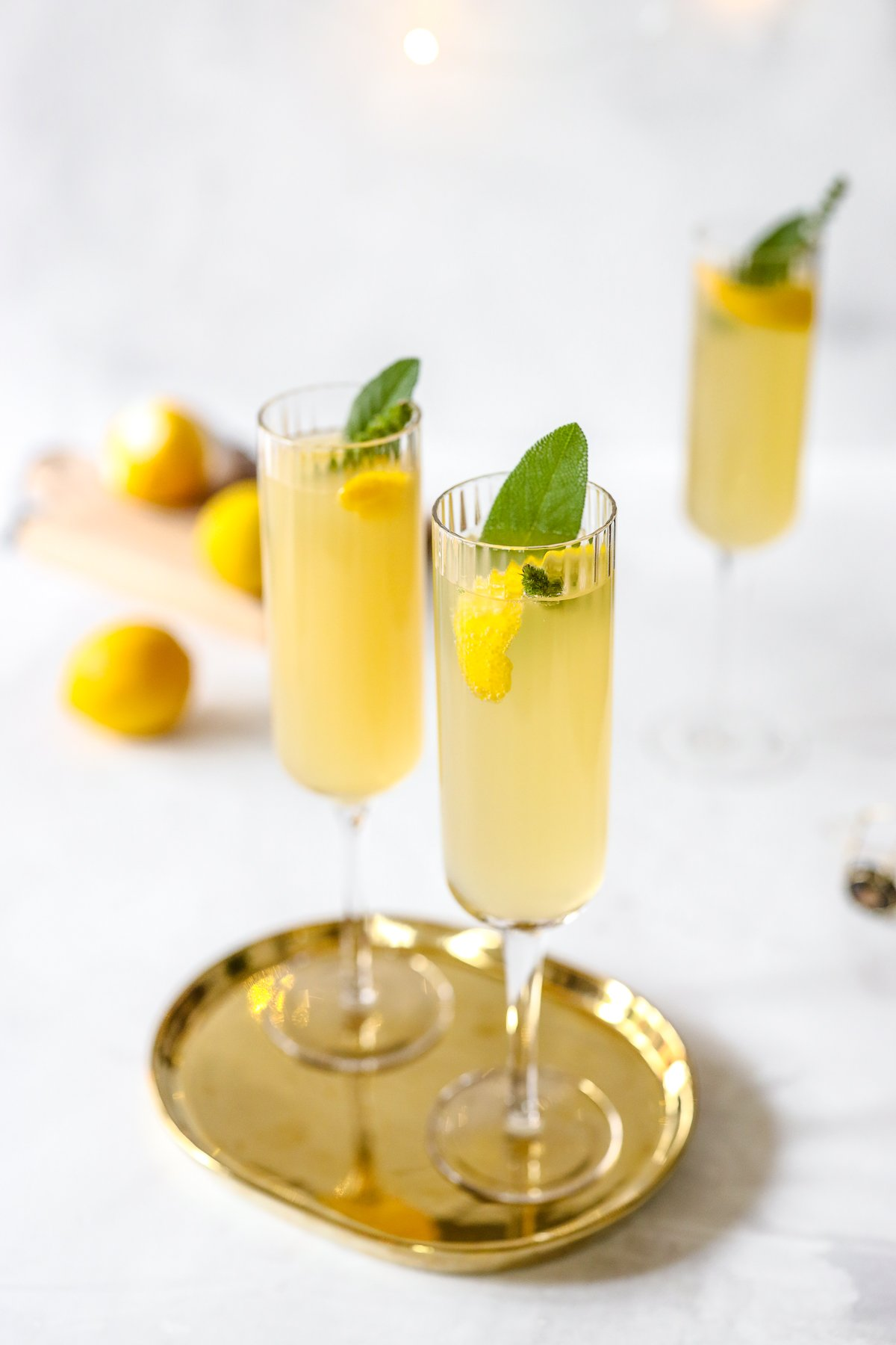 Meyer Lemon French 75 with Elderflower Syrup