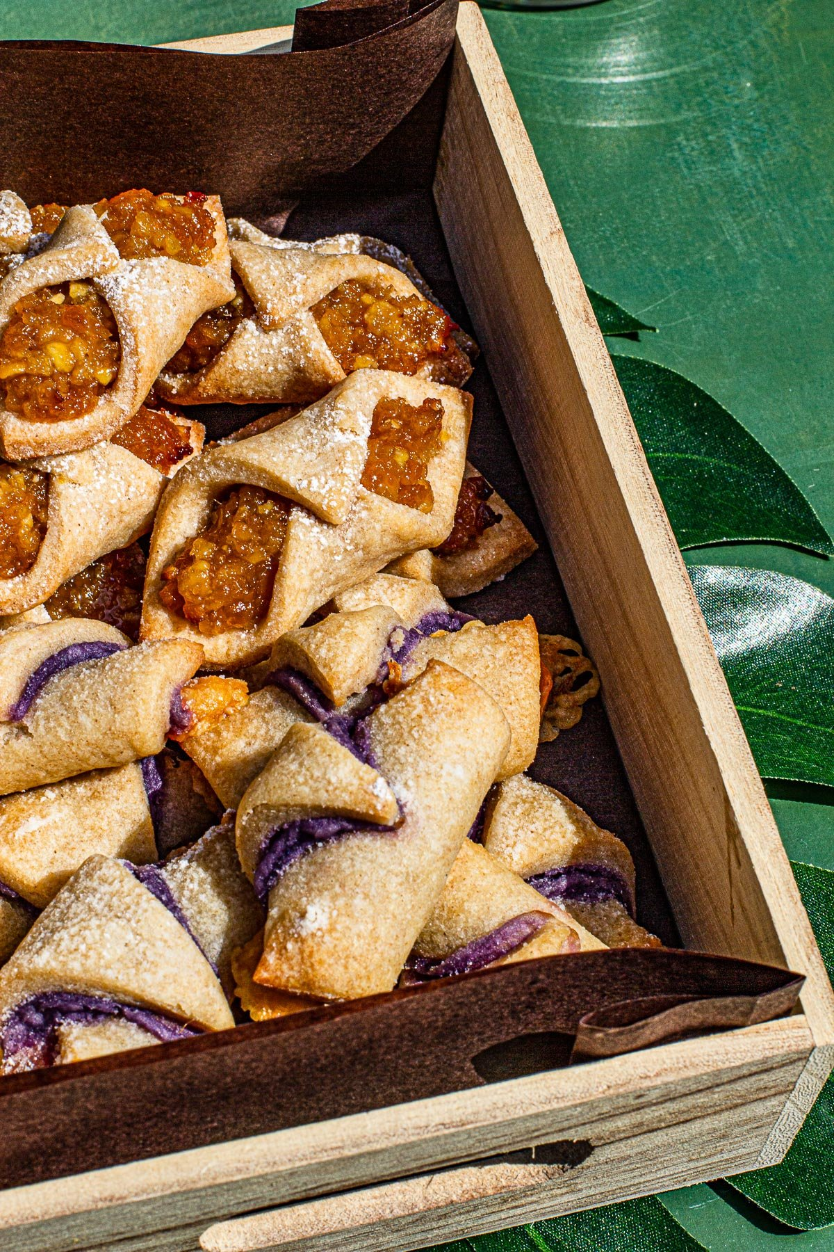 Filipino Flavored Polish Kolaczki Cookies in a wooden box